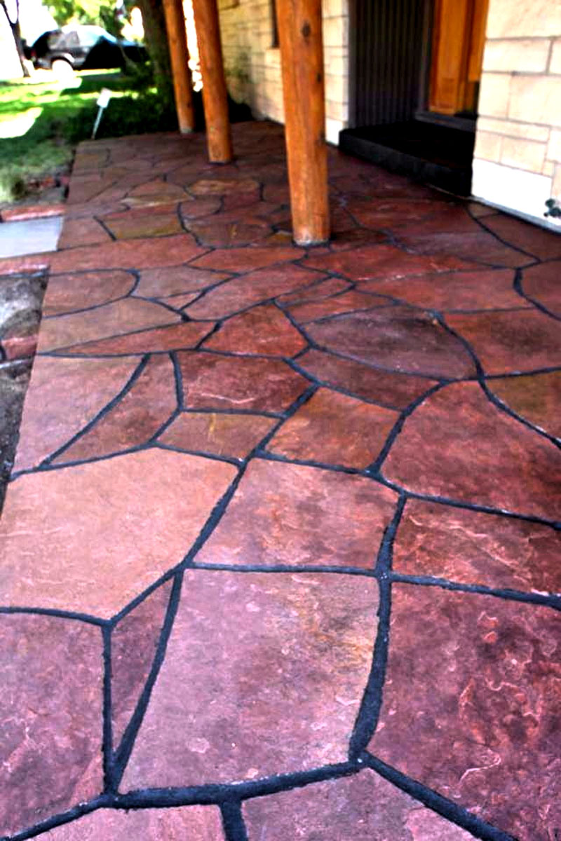 ... Flagstone Porch On Concrete Base 806 Outdoors Masonry Dyed Mortar  Joints Colorado Red Flagstone ...